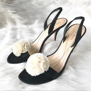 Kate Spade Satin Slingback Heels with Ivory Flower